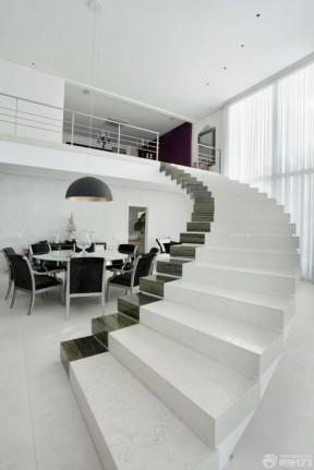 精致复式房楼梯大理石地砖设计图片