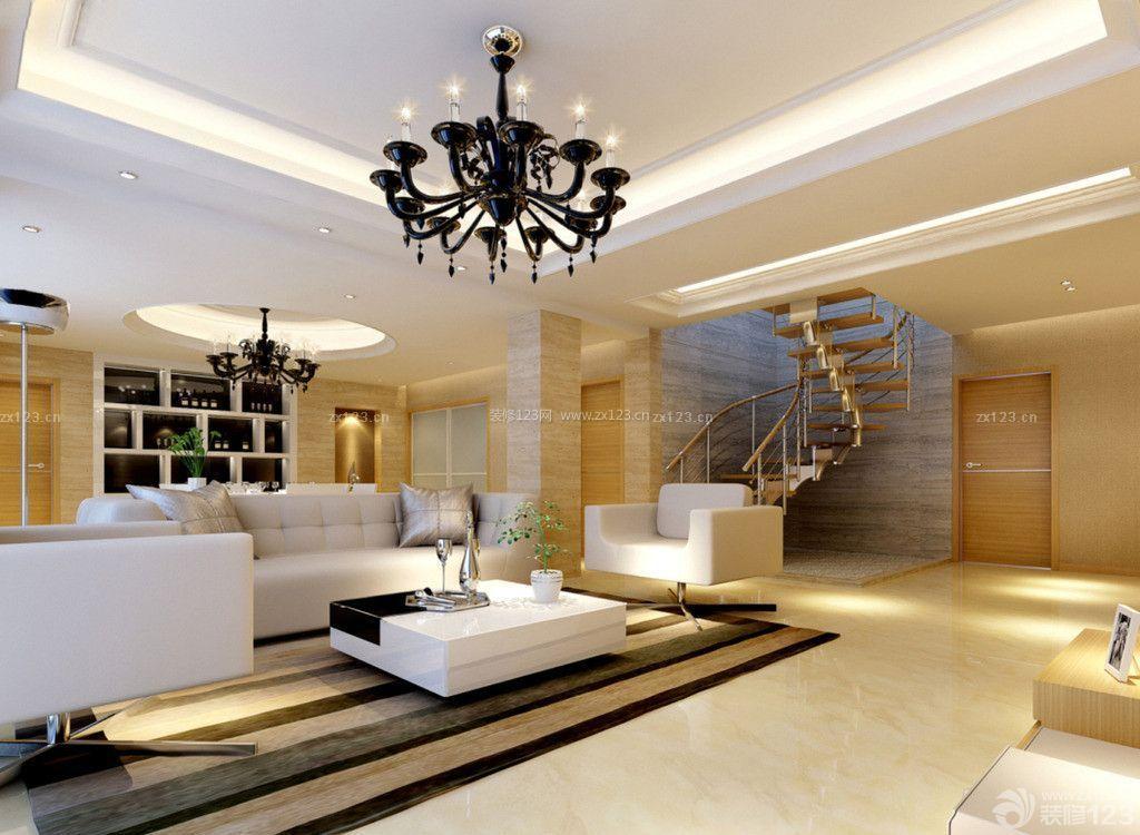 简约欧式风格复式楼房客厅装修样板大全