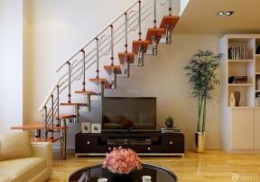 復式樓房客廳裝修 鋼木樓梯裝修圖片