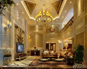 歐式復古裝修效果圖 挑高客廳裝修效果圖