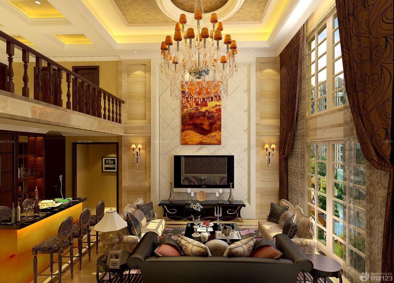 复式楼客厅吊顶2015中式客厅吊顶效果图图片