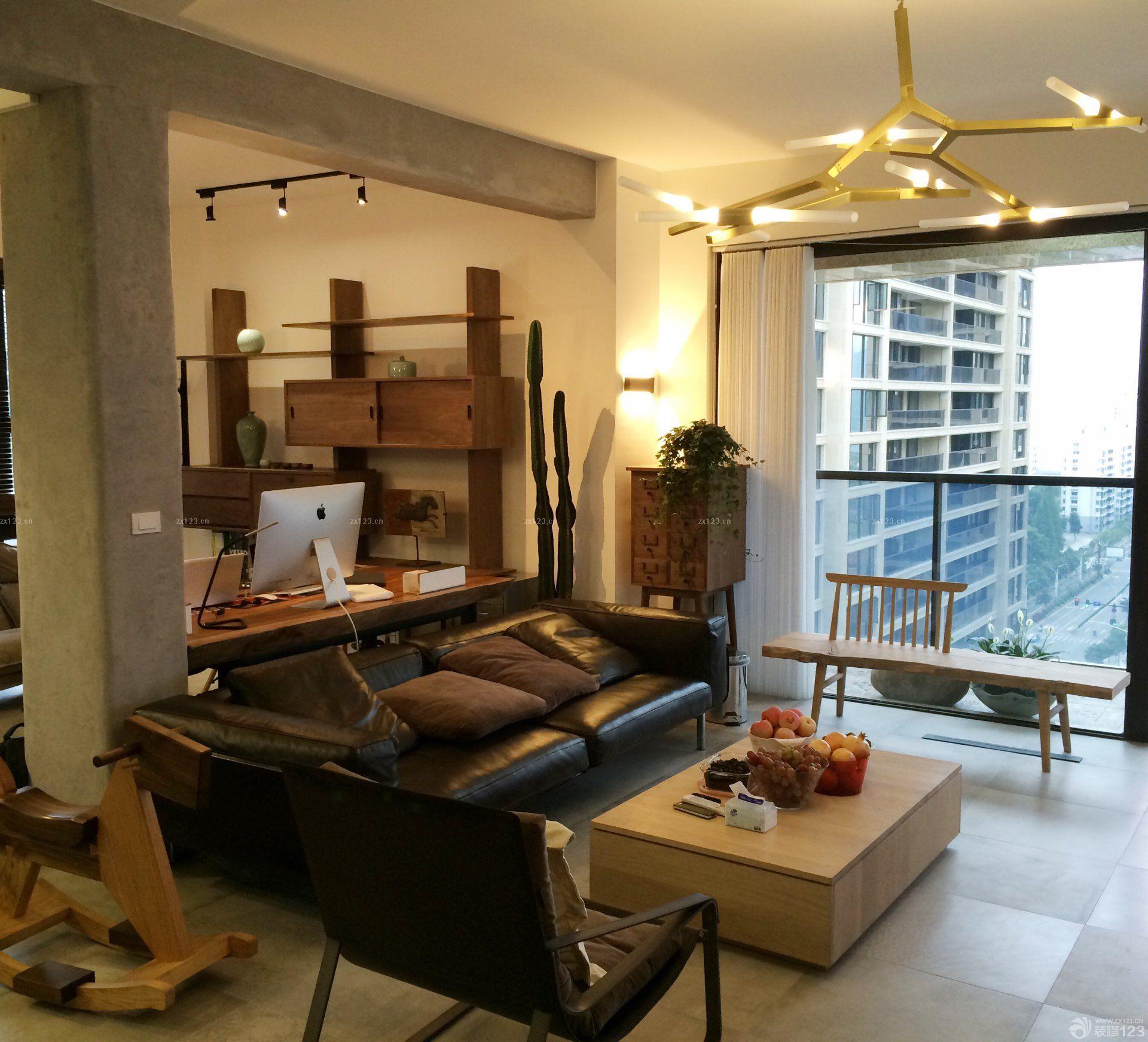 90平小户型客厅兼书房loft装修效果图
