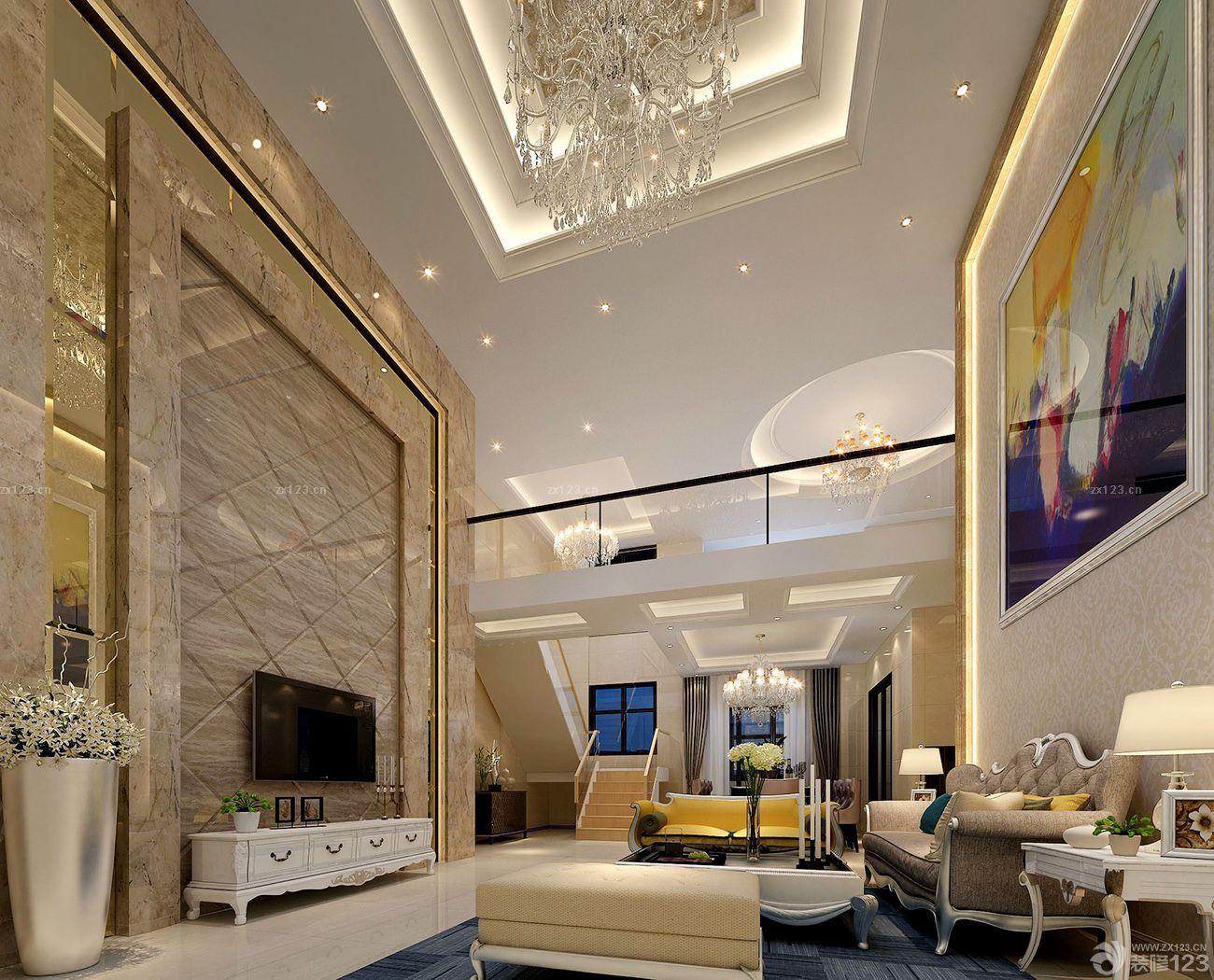 现代复式楼电视背景墙造型设计装修效果图图片