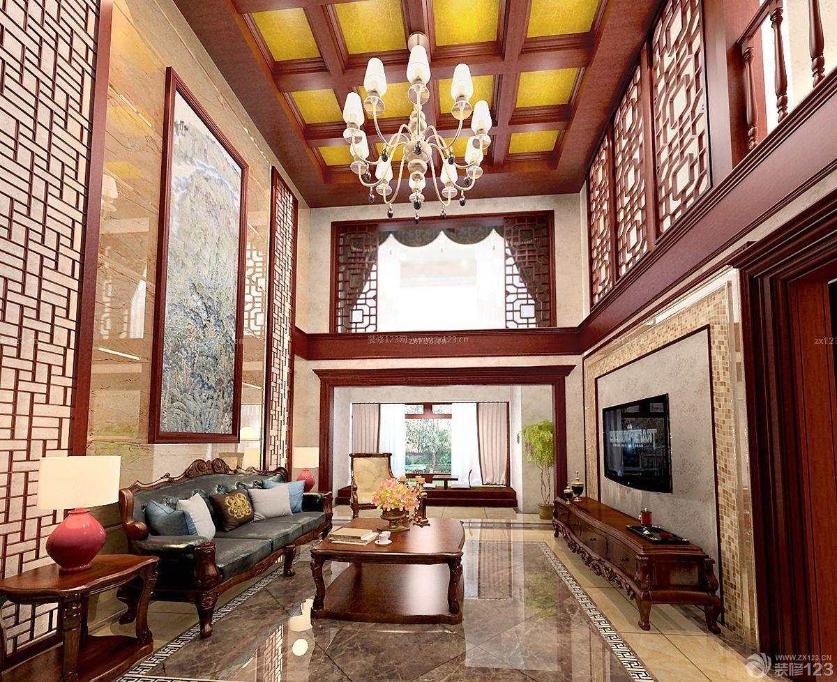 中式家装复式楼吊顶装修效果图图片