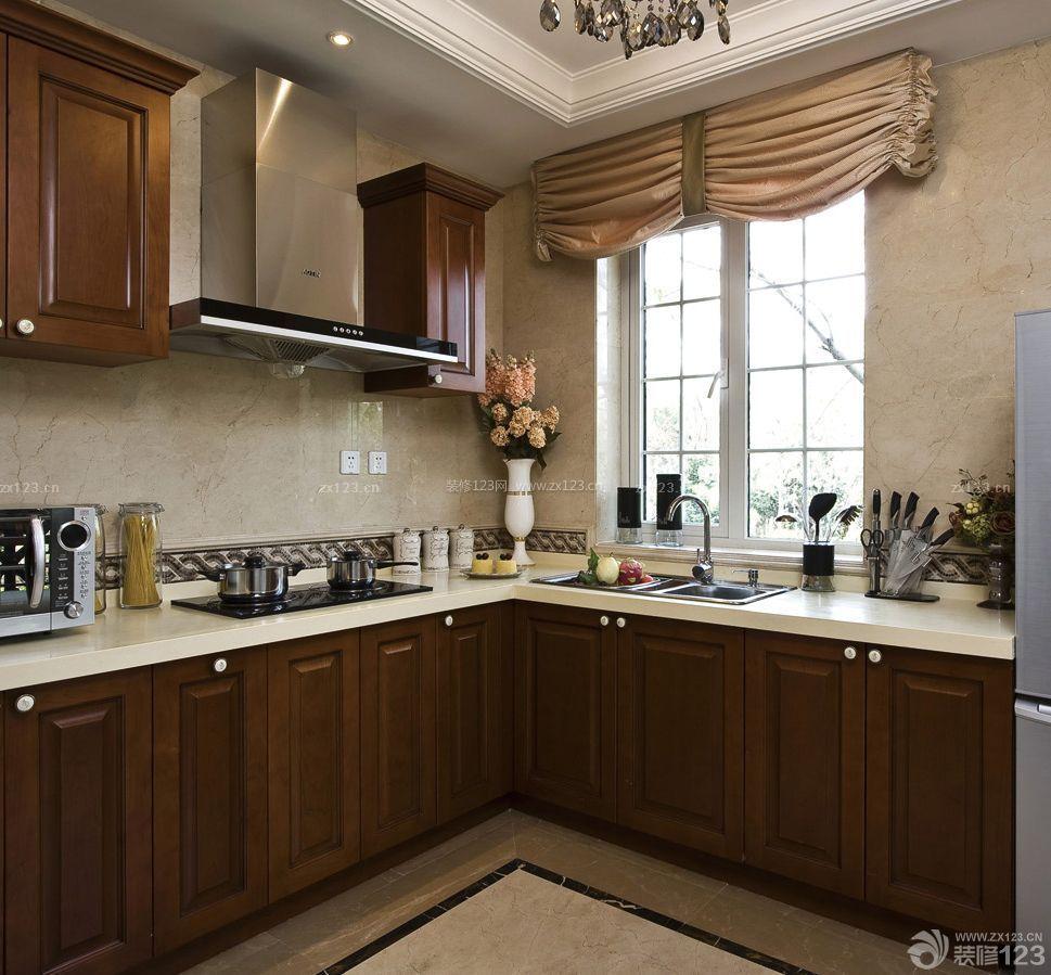 美式古典风格90平米小户型厨房装修效果图
