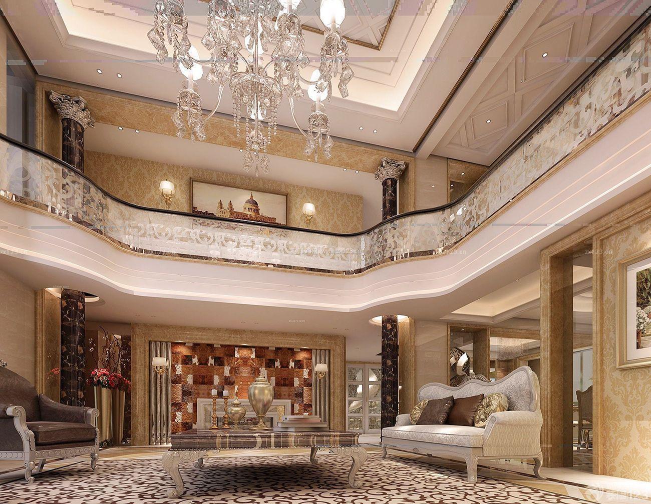 现代欧式复式别墅大厅水晶吊灯设计图片