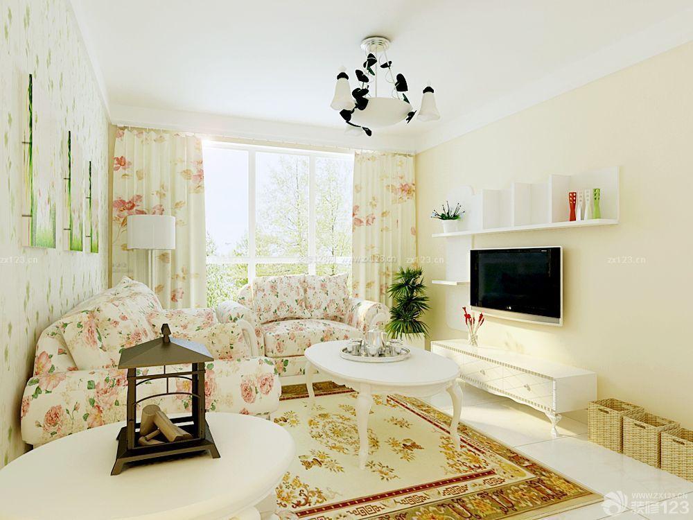 60平米两室一厅小户型客厅印花窗帘装修效果图