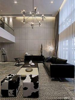 現代黑白風格復式樓裝修效果圖