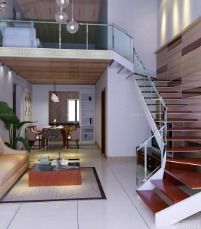 现代复式楼装修效果图 玻璃楼梯扶手图片