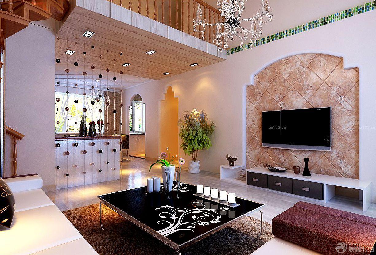 复式房子石材电视背景墙装修效果图图片