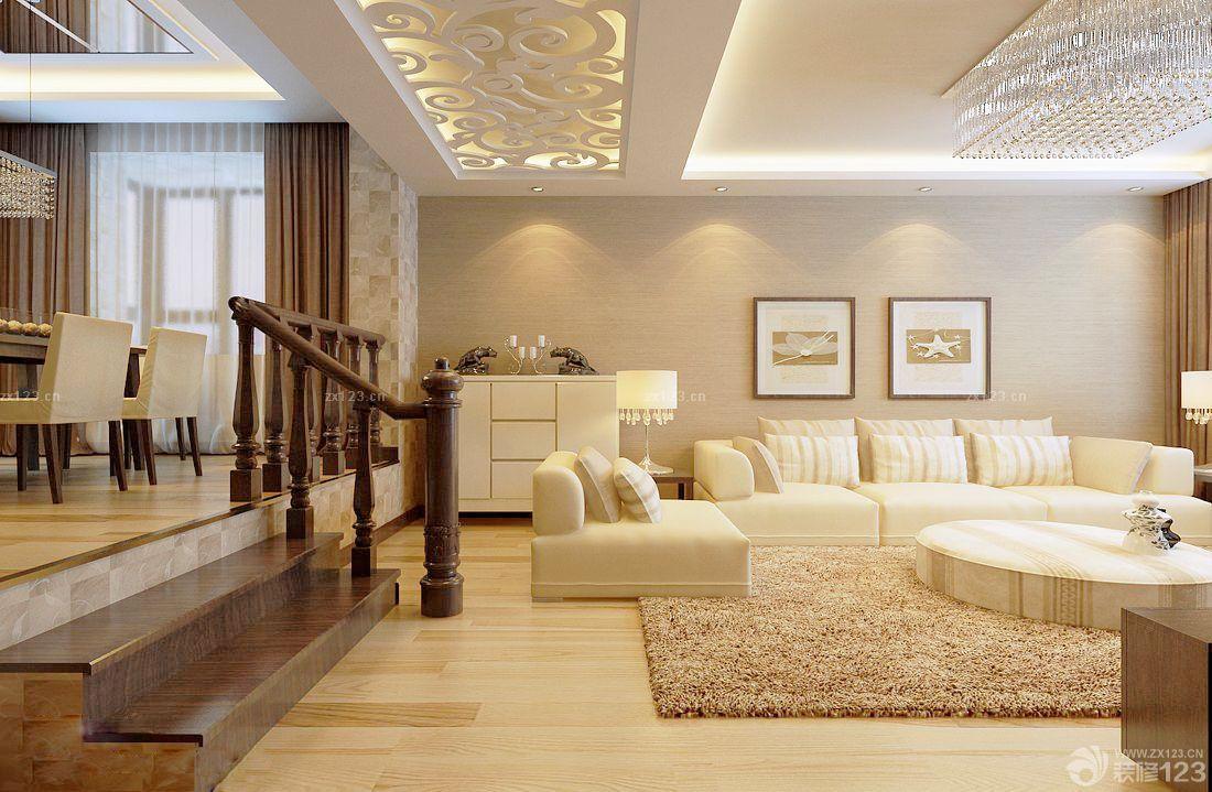 欧式风格错层式住宅客厅沙发背景墙装修图片