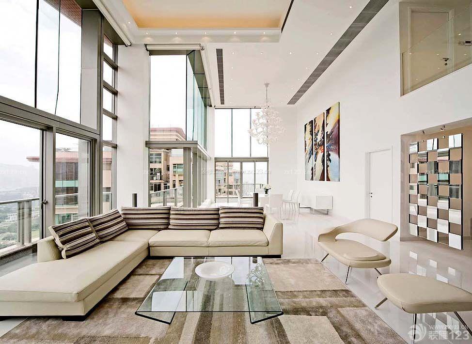 复式别墅现代简约客厅装修效果图