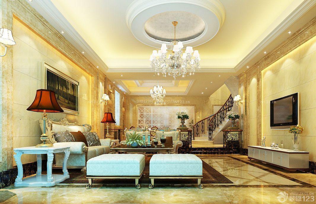 欧式新古典风格复式别墅大厅装修效果图
