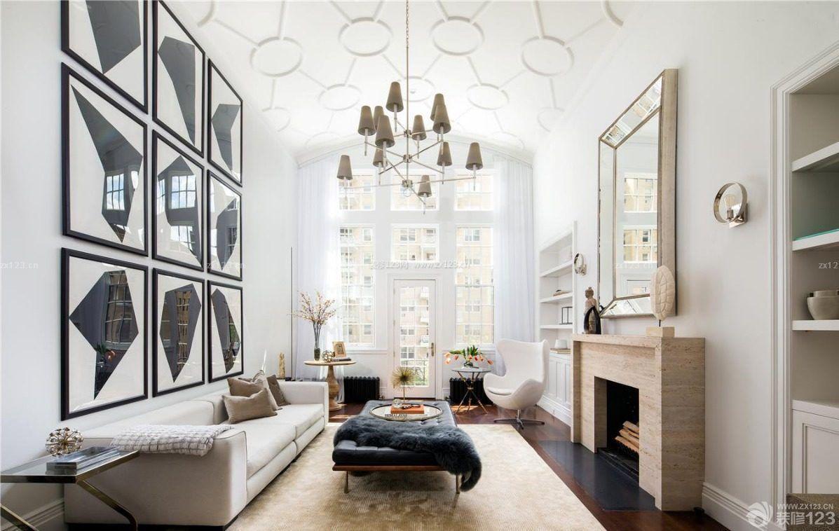 精致80复式楼装修效果图客厅吊灯参考