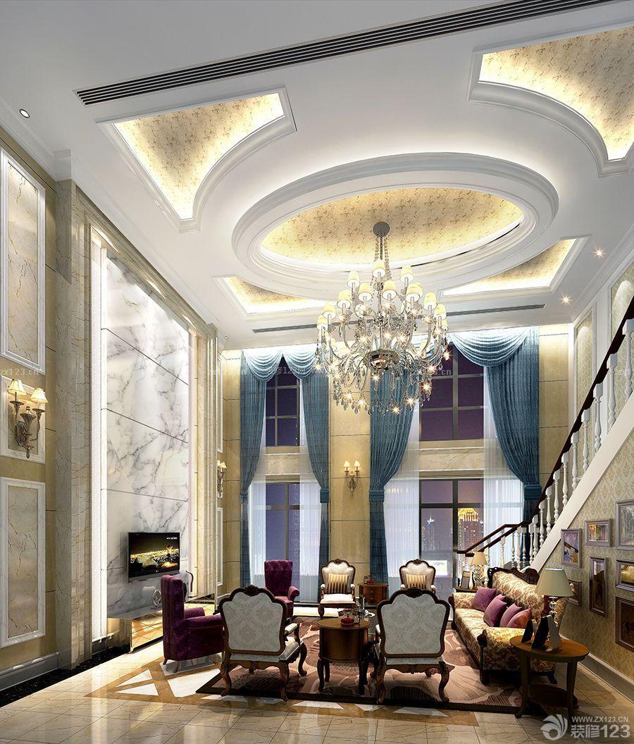 欧式风格复式大厅吊顶装修设计效果图图片