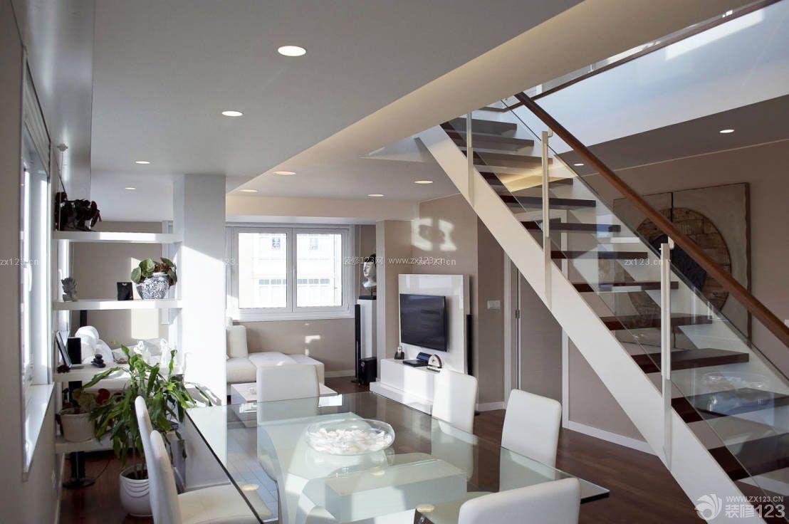 家装80平米复式楼玻璃餐桌装修效果图图片
