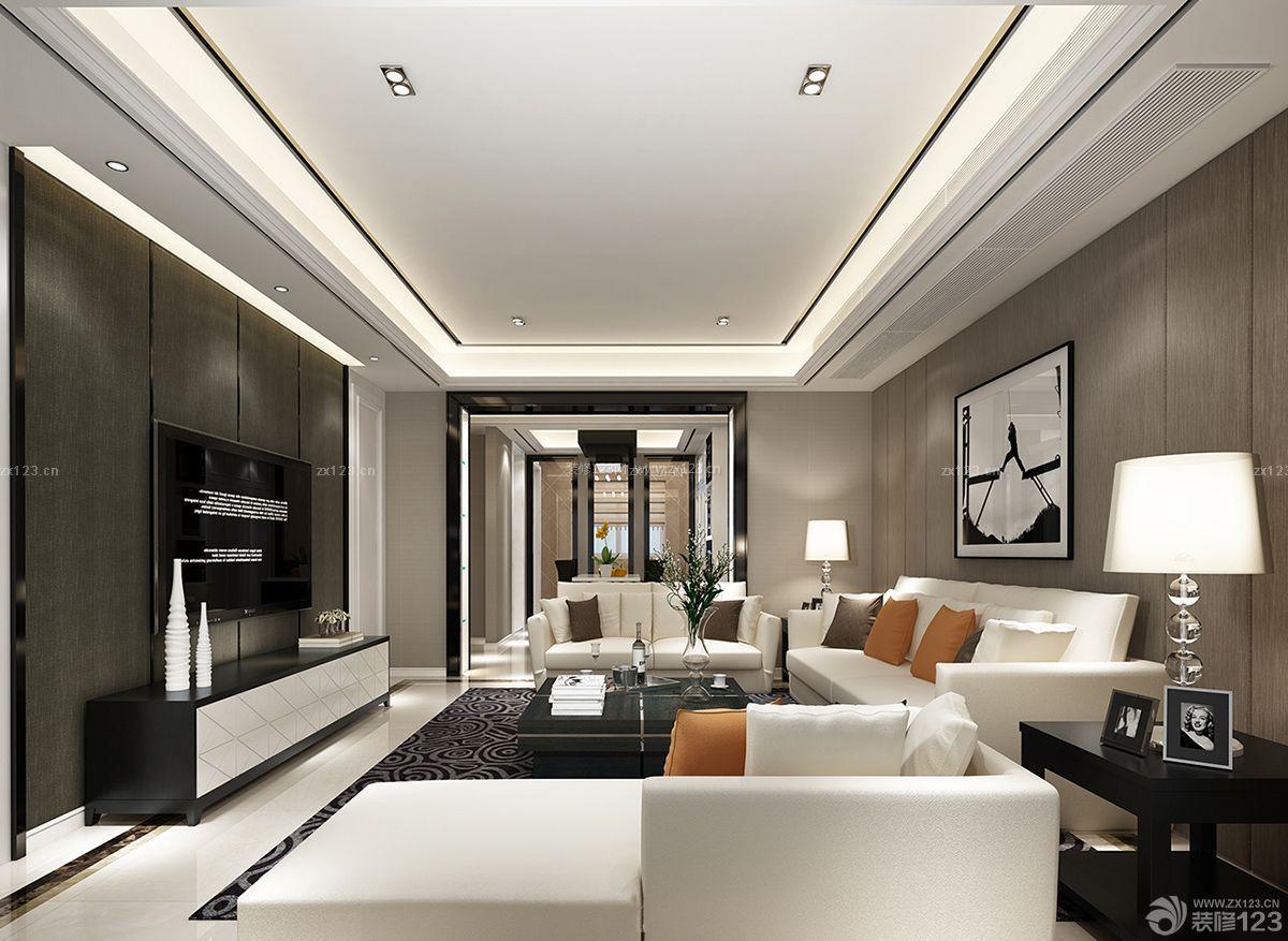 简约黑白风格别墅室内客厅设计装修效果图