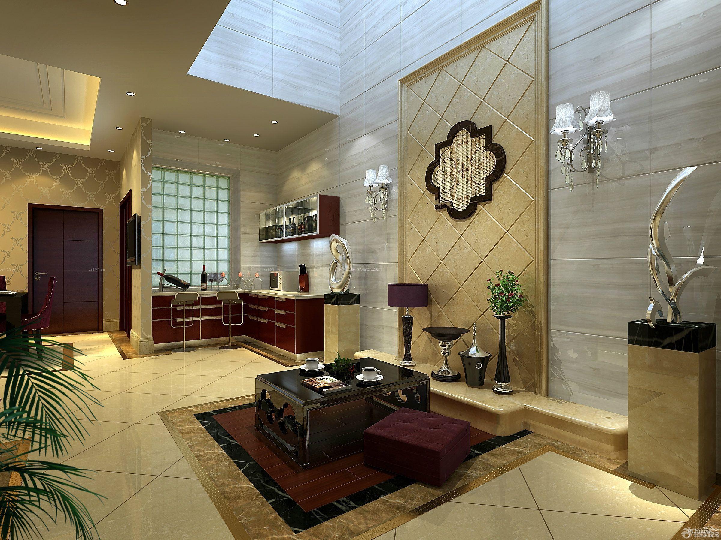 别墅家装大理石背景墙设计装修效果图