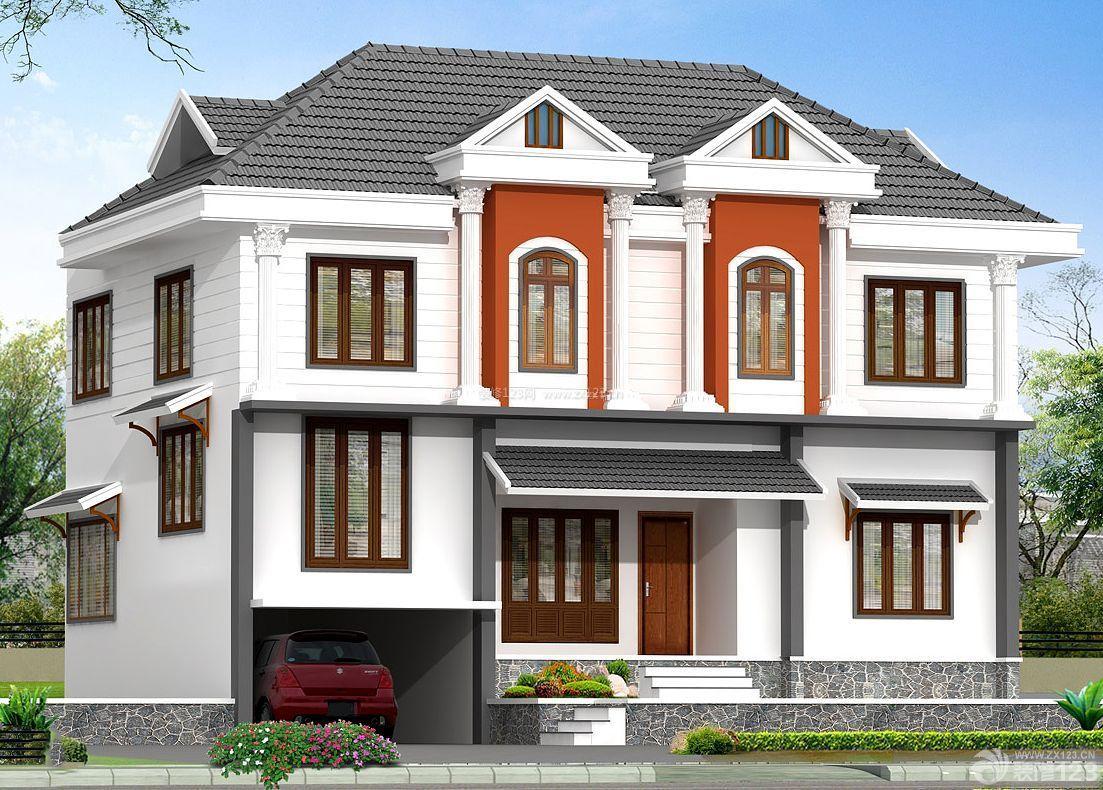 简约美式风格三层小别墅外观设计效果图