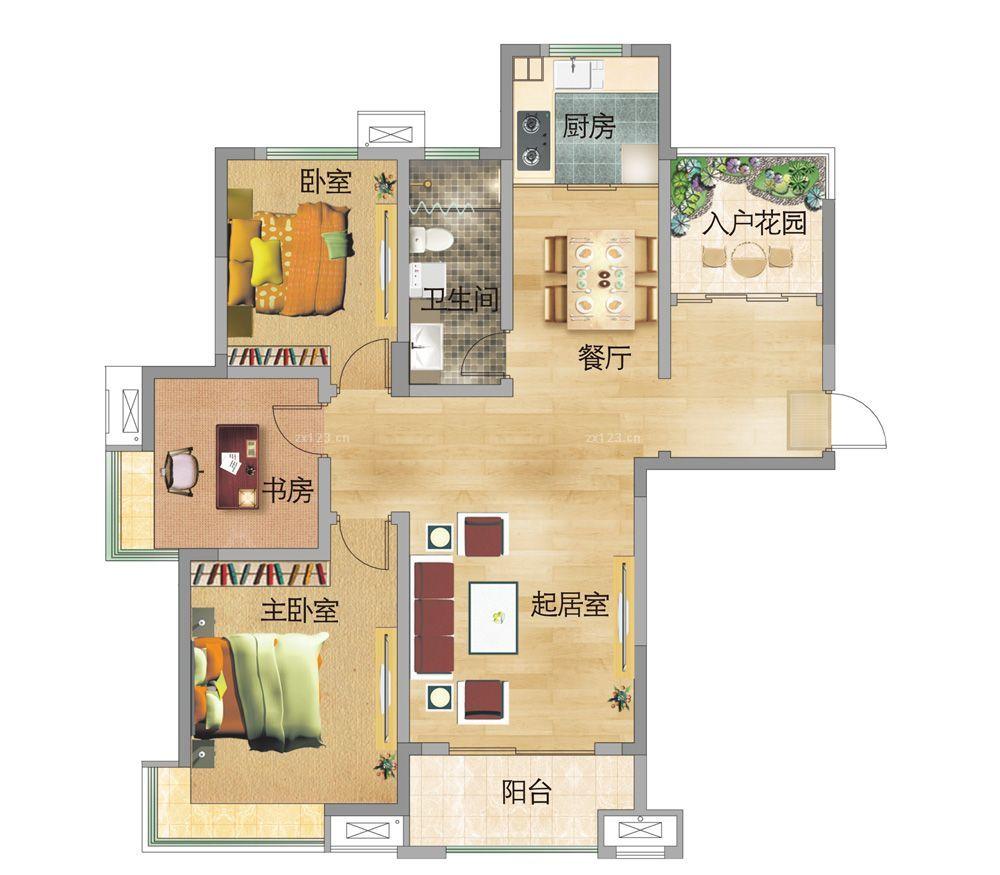 最新80平米小户型两室两厅结构设计图_装修123效果图