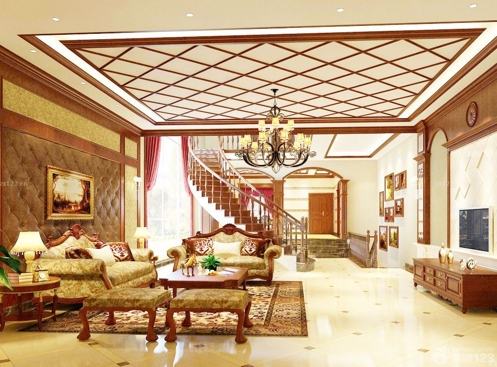 豪宅别墅客厅吊顶设计图片