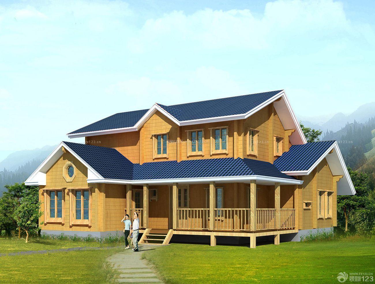 家庭休闲木屋别墅外观装修图片