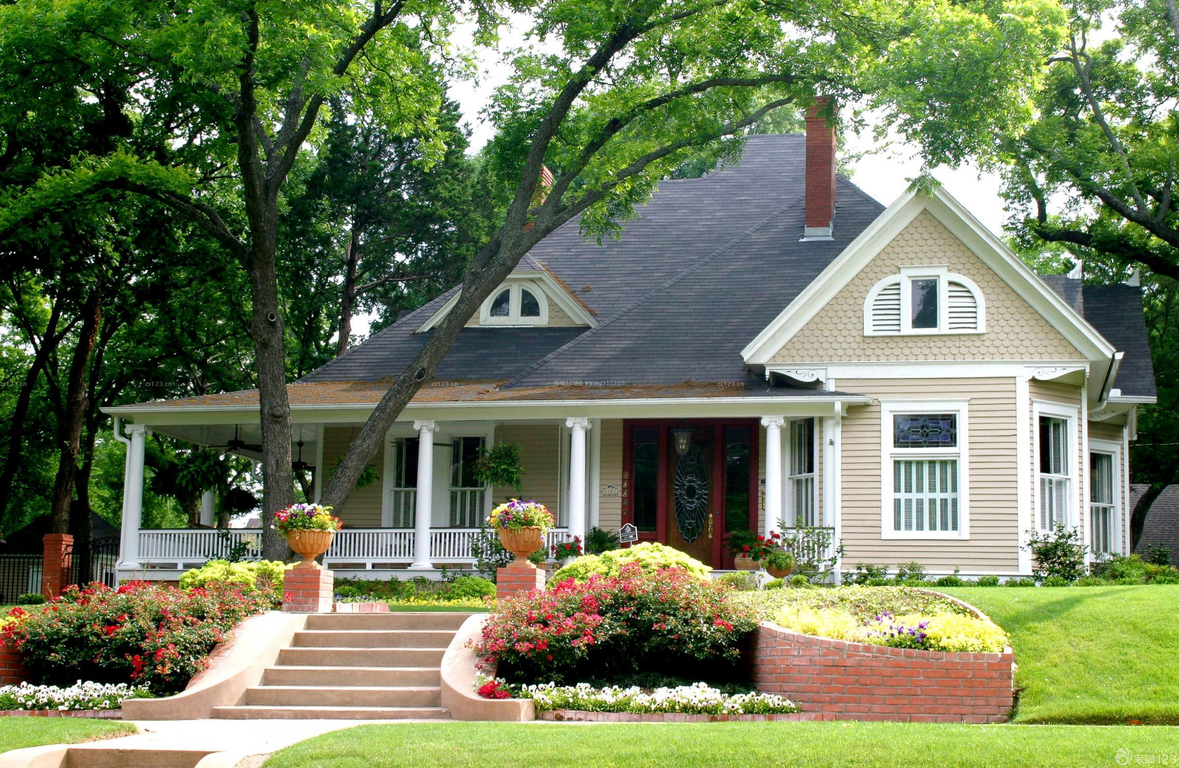 国外美式乡村别墅外观设计图片