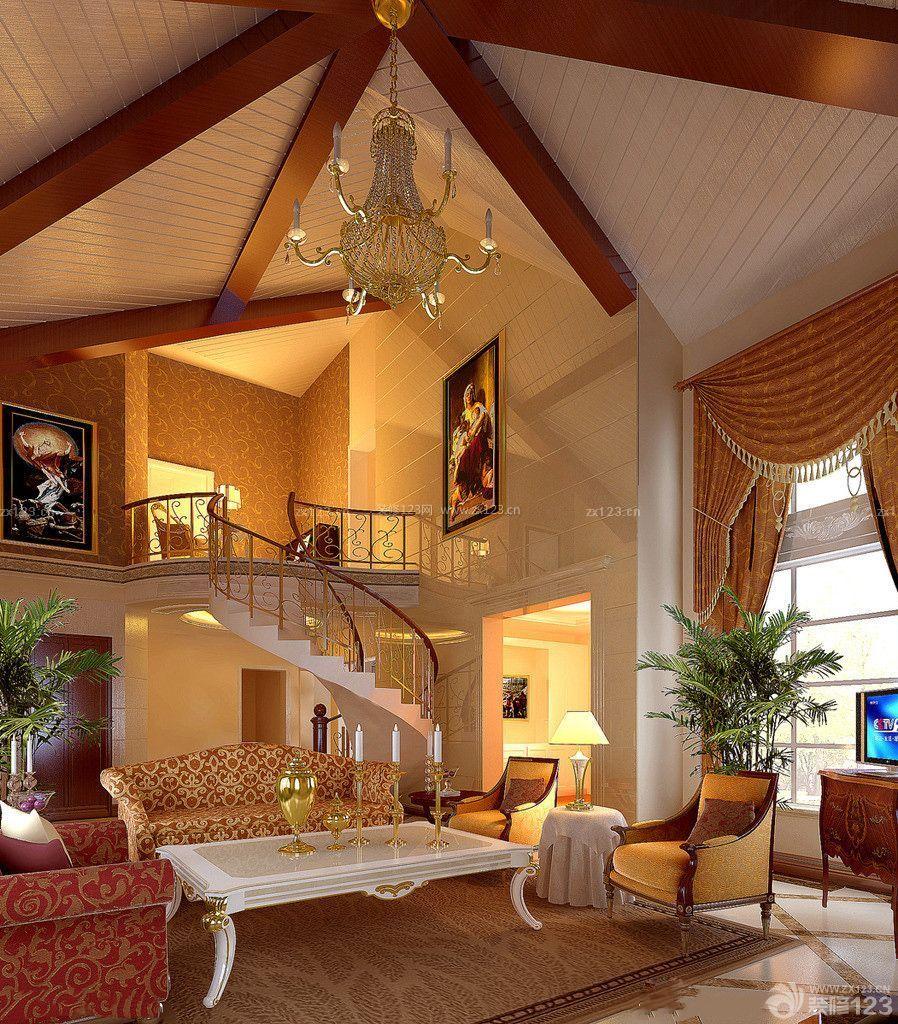 混搭风格别墅大厅尖顶客厅装修效果图
