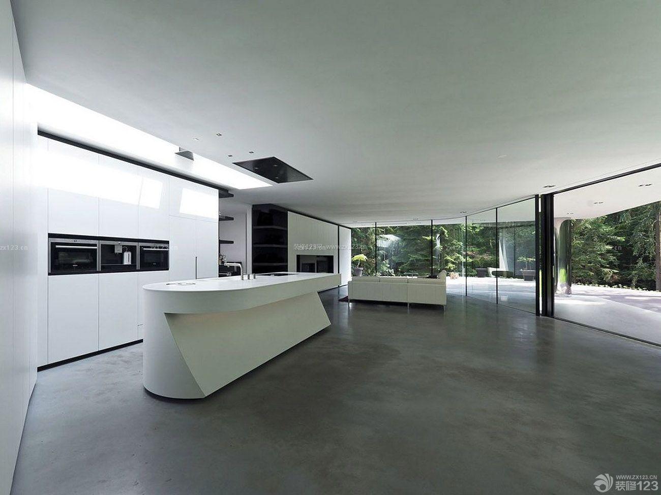 别墅现代时尚厨房橱柜中岛装修效果图