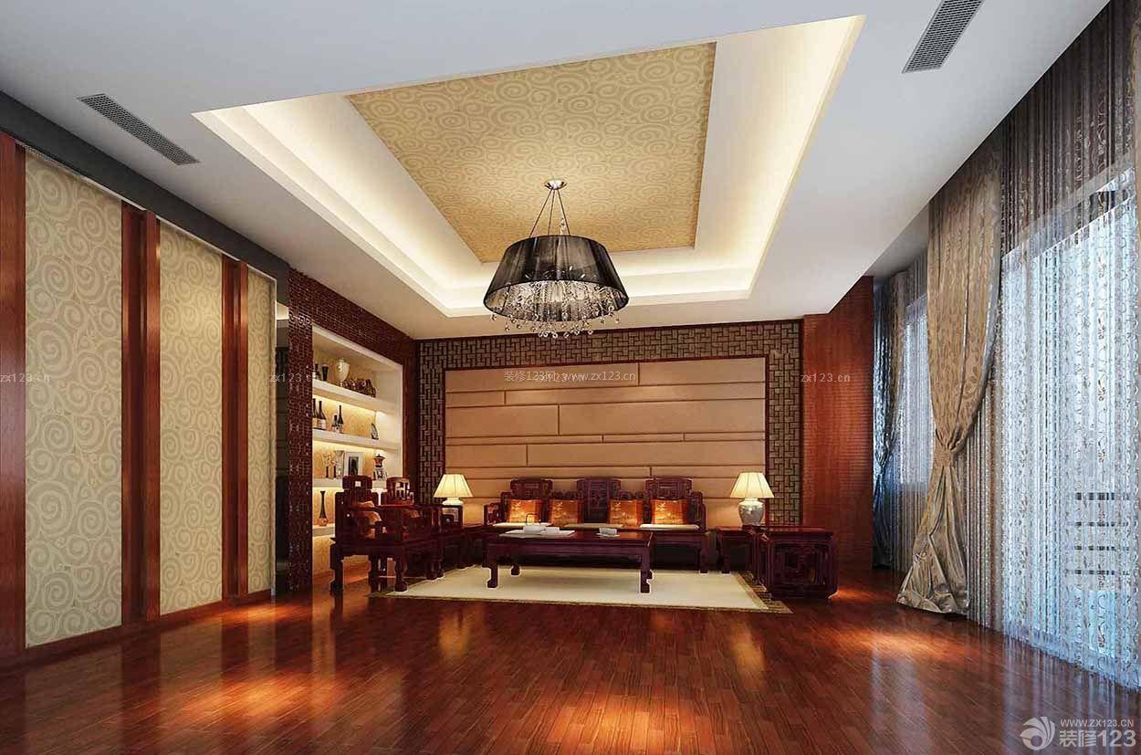 经典别墅中式家具摆放装修设计效果图片