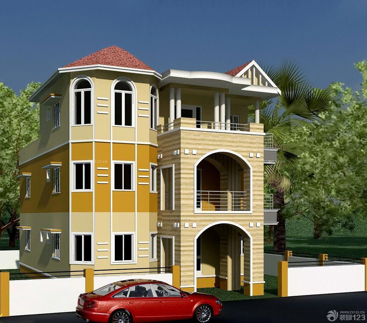 农村别墅建筑外墙面设计装修效果图片