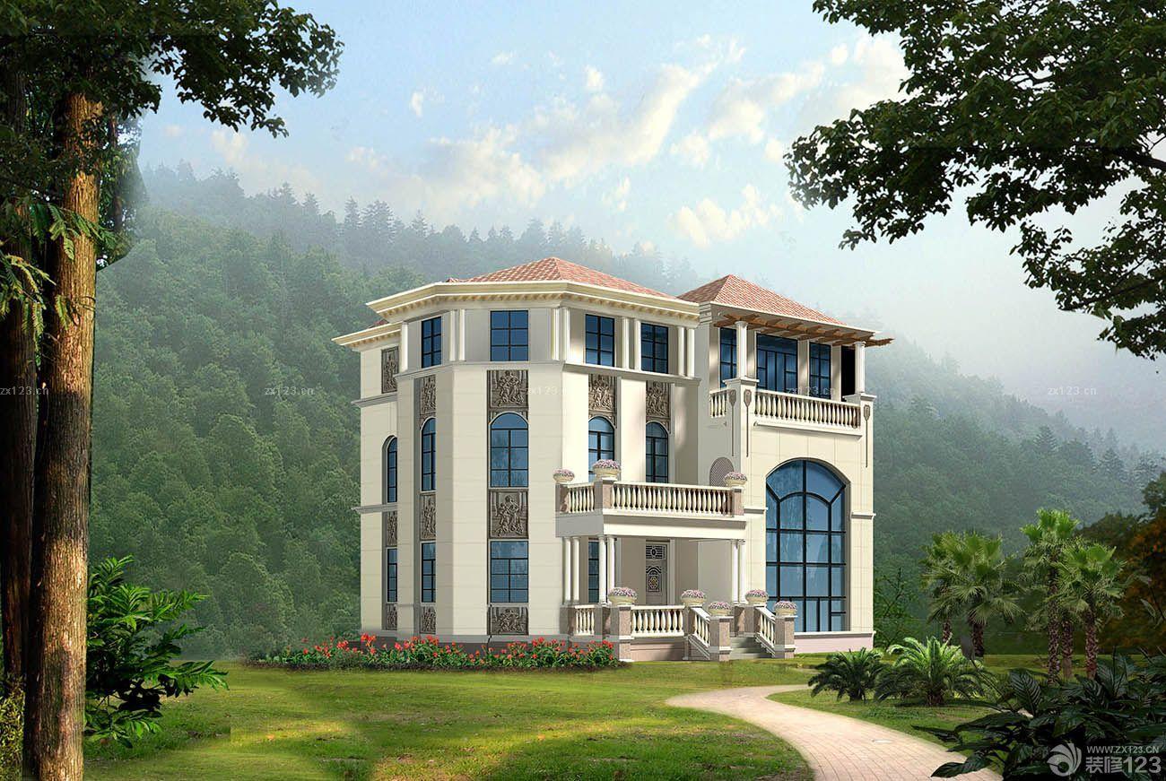 农村三层欧式别墅外观装修效果图