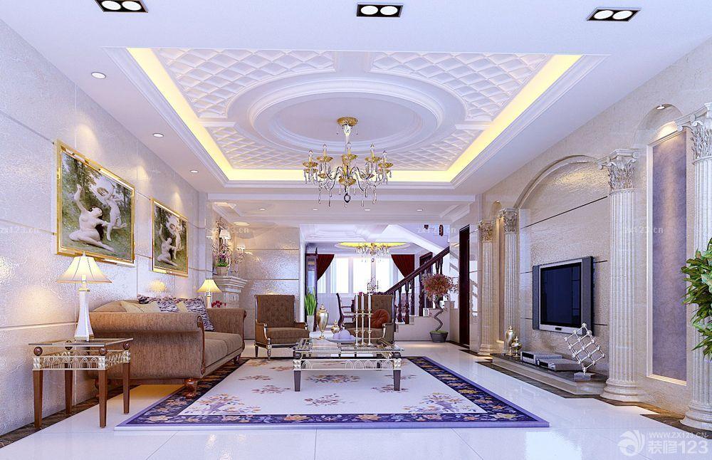世界顶级别墅客厅吊顶设计效果图