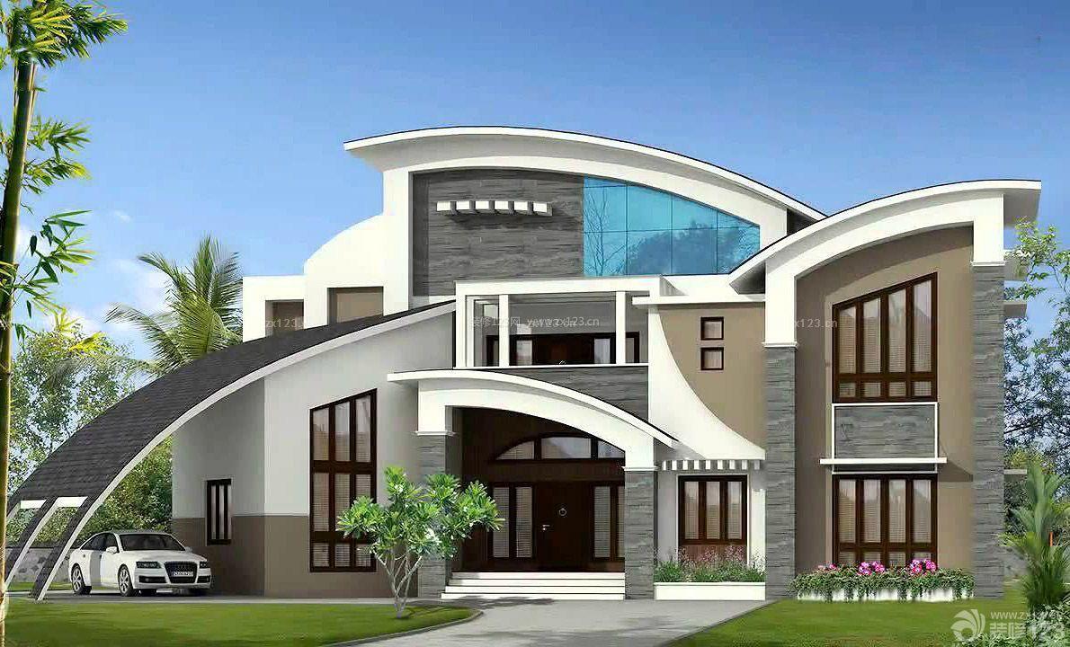 农村二层别墅外观红砖墙装修设计图