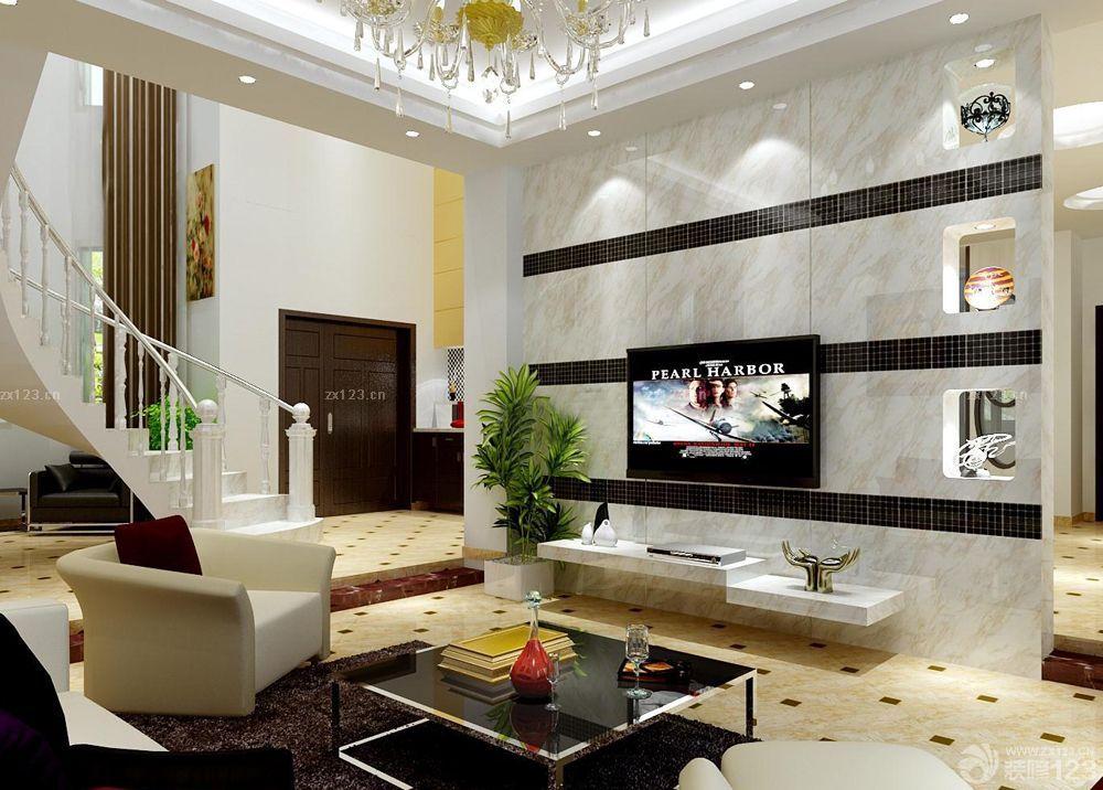 两层小别墅客厅电视背景墙设计图