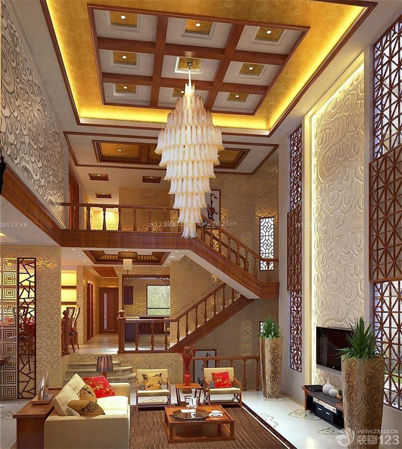 奢华中式复式楼客厅吊灯装修效果图图片