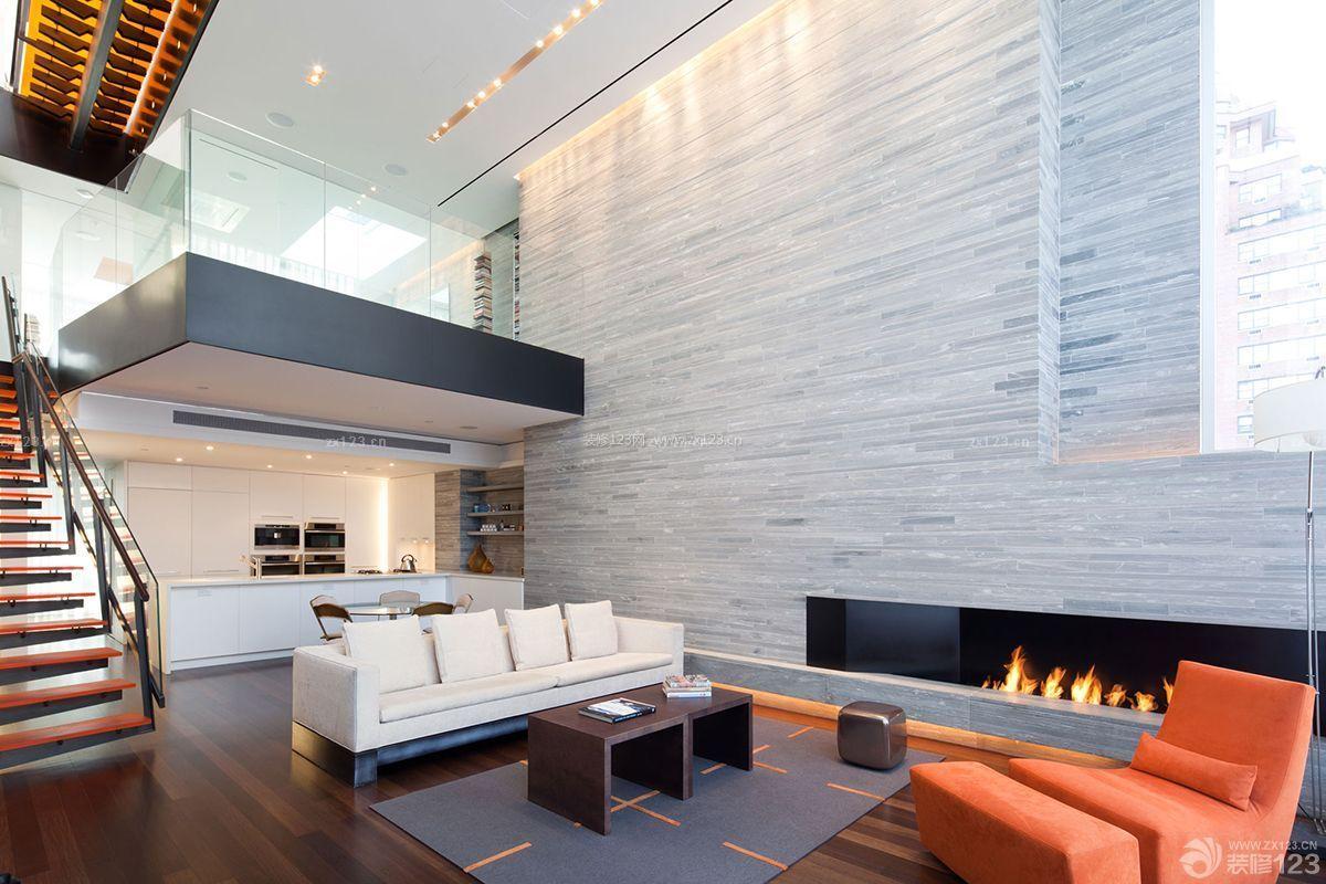 时尚复式单身公寓墙砖墙面装修实景图_装修123效果图
