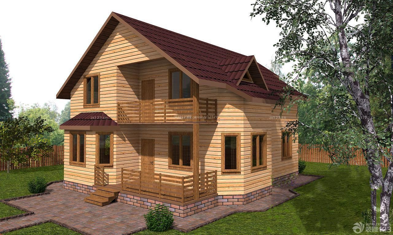 农村木屋别墅外观设计效果图