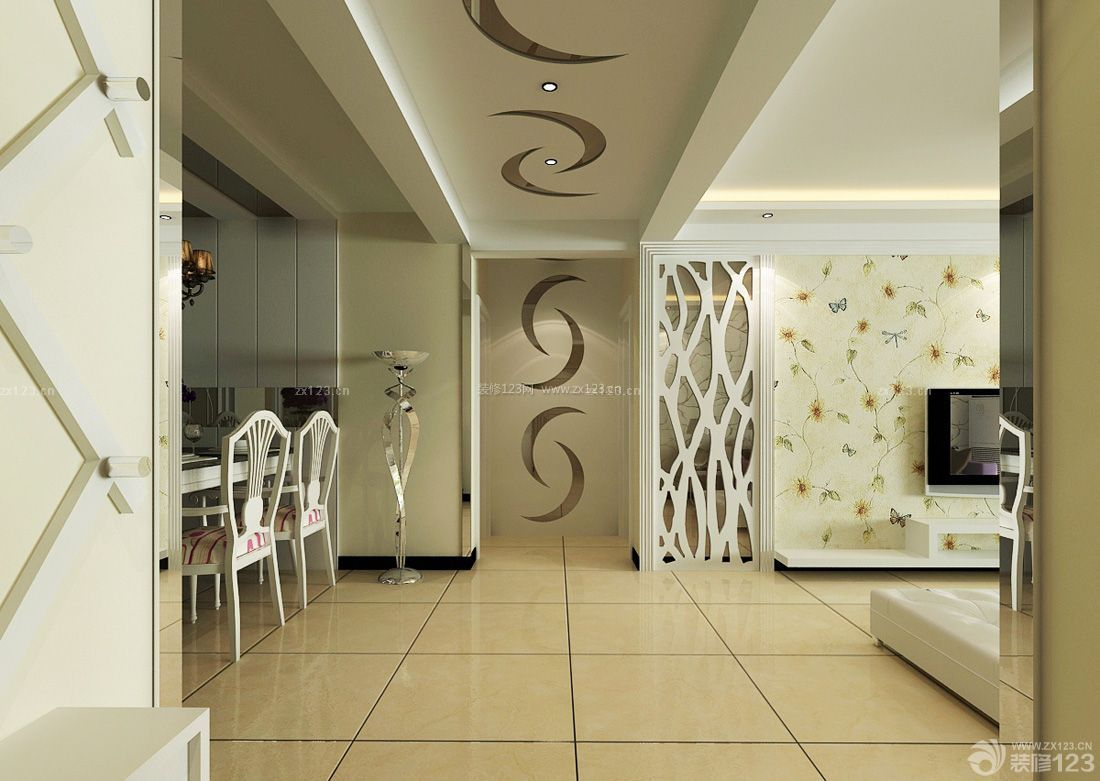 家装客厅走廊吊顶设计装修效果图