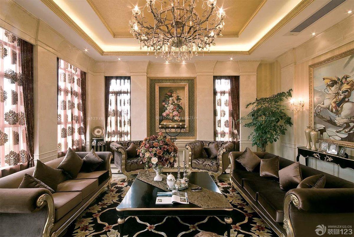 欧式别墅装修样板房欧式沙发效果图图片