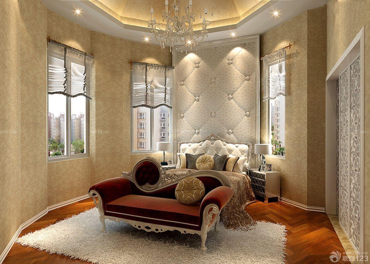 经典欧式别墅装修样板房软包背景墙效果图图片