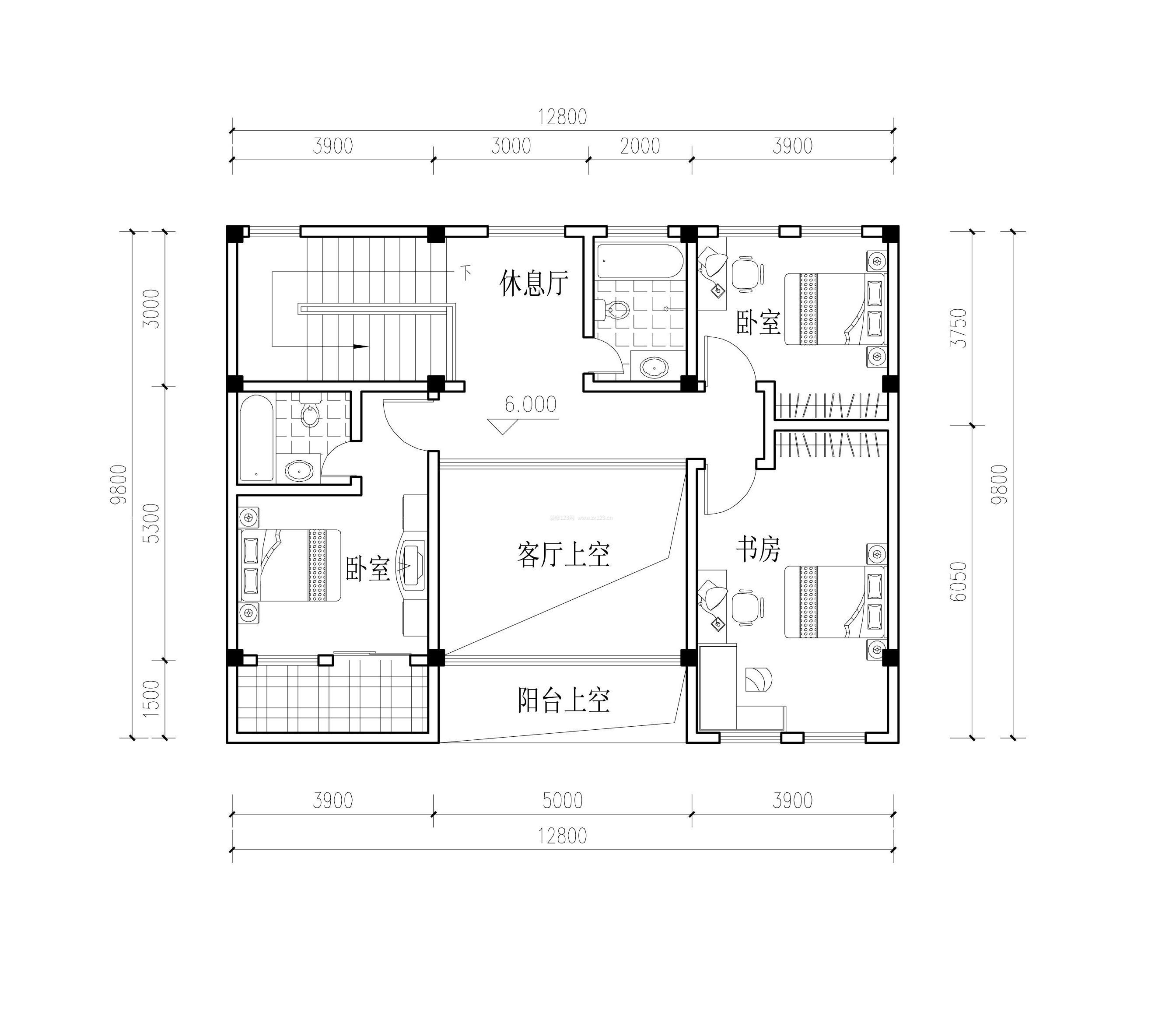 小型农村别墅平面设计图纸_装修123效果图