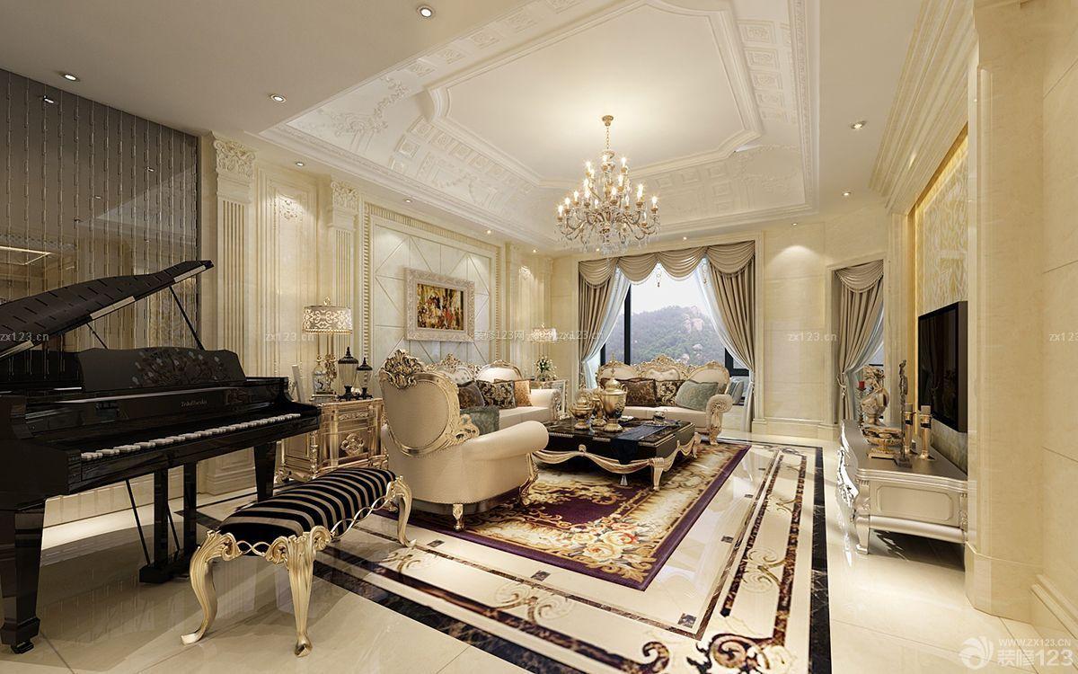 经典欧式别墅装修样板房白色地砖效果图
