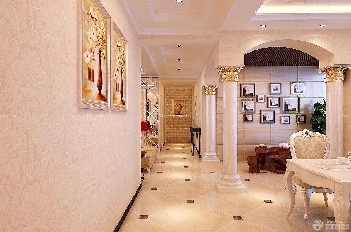 别墅欧式客厅罗马柱装修效果图片_装修123效果图