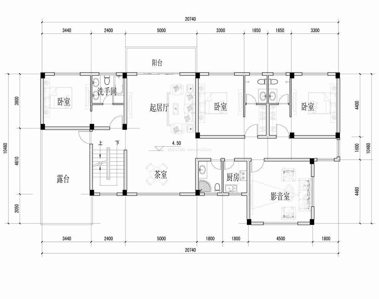 豪华小型农村别墅平面设计图