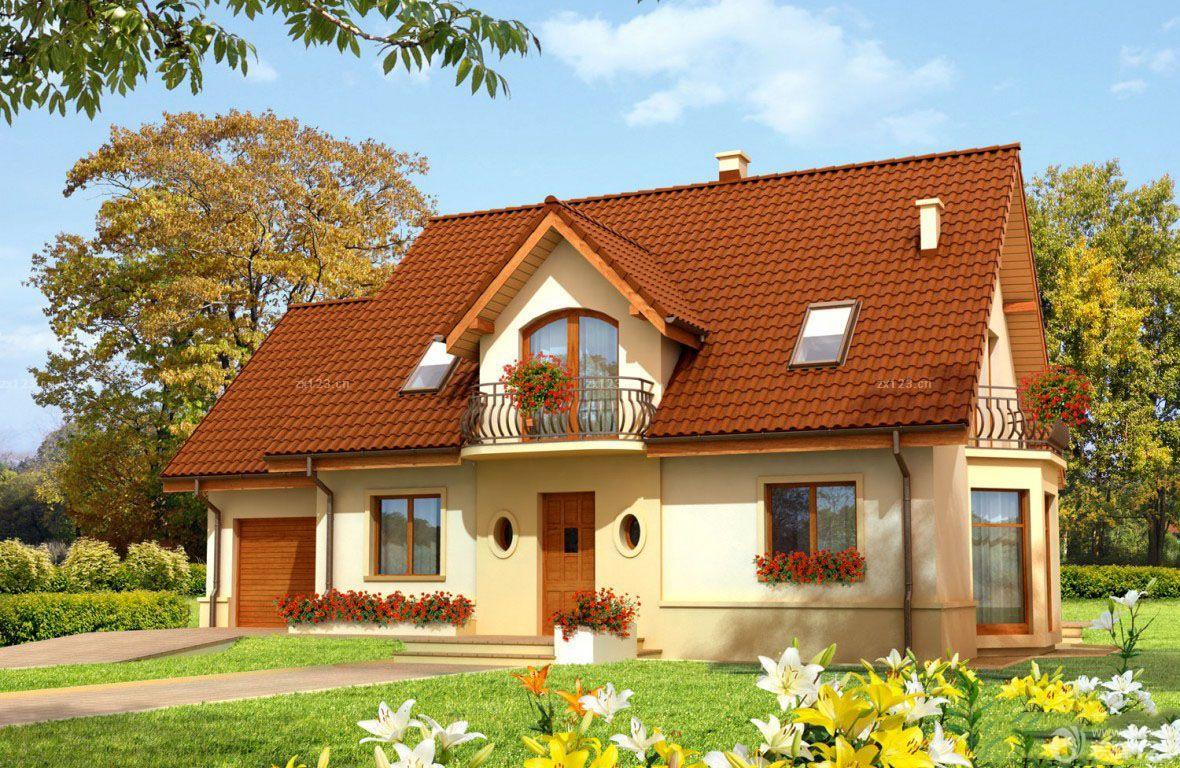 农村别墅一层半屋顶琉璃瓦设计效果图图片