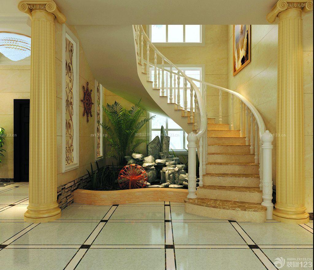 两层别墅室内旋转楼梯装修效果图片大全