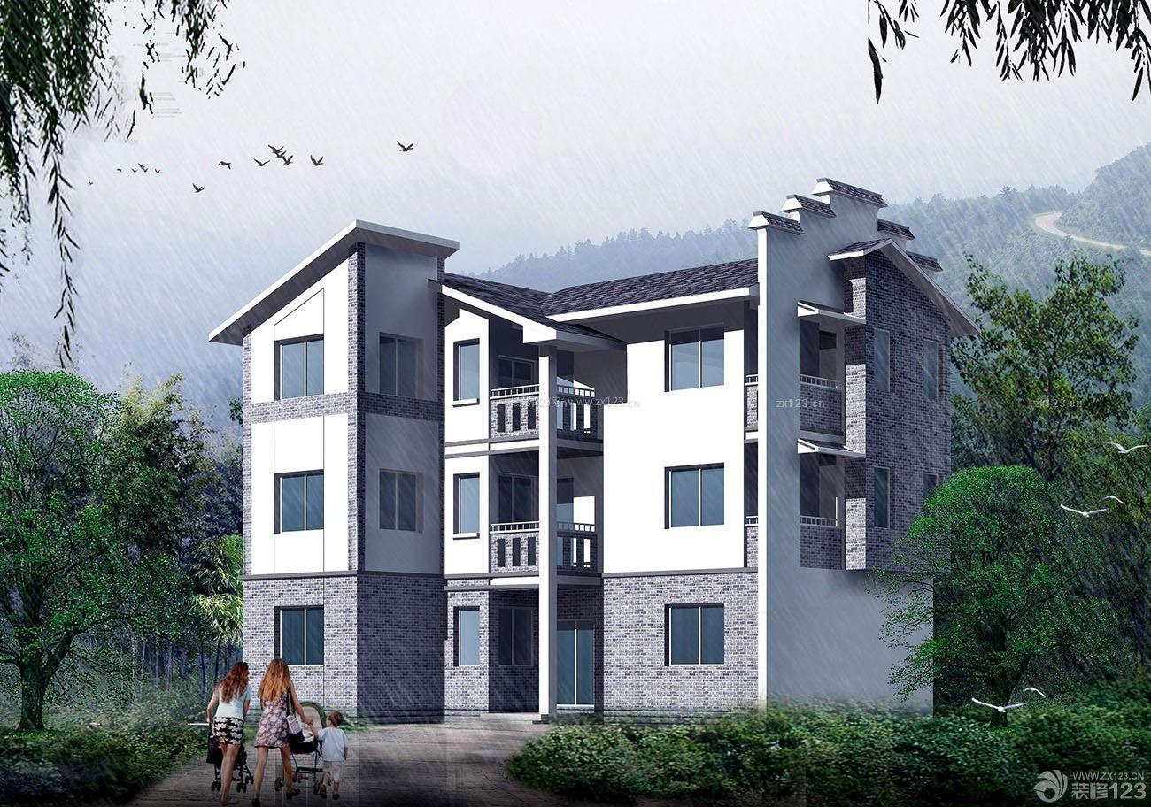 农村小型三层别墅外观设计效果图