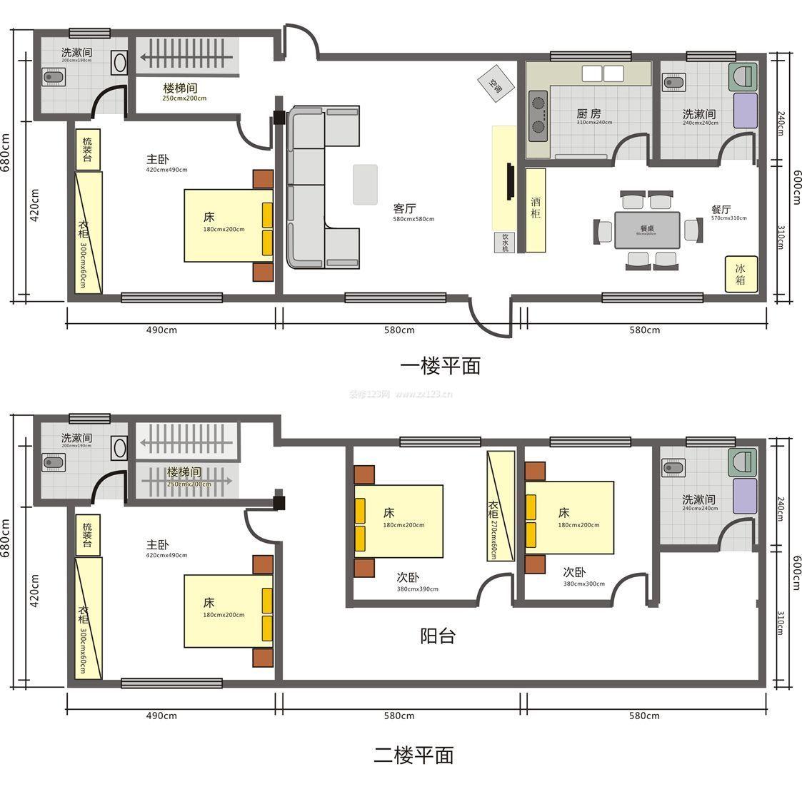 两层别墅室内设计平面图