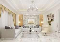 別墅樣板房客廳沙發背景墻圖片